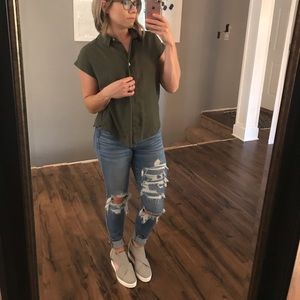 A New Day Army Green Top